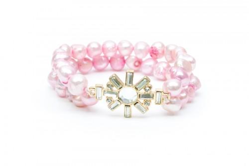 Pink Pearl and Jewel Bracelet