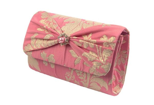 Pink and Gold Floral Clutch Bag