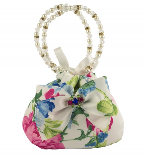 Floral Pink and Blue Evening Bag