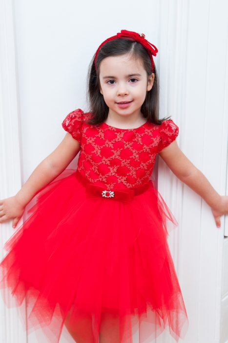 Red Embellished Tutu Dress
