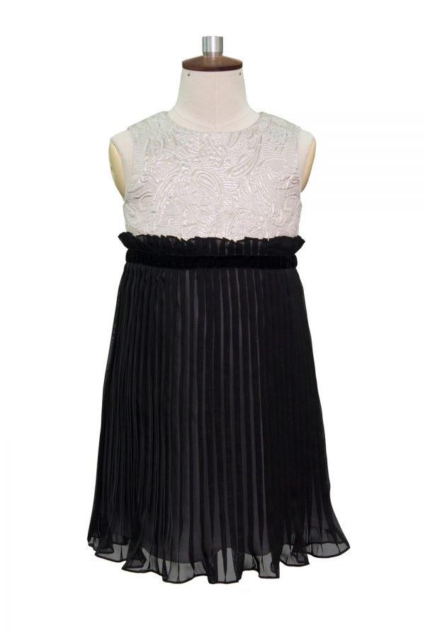 Silver and Black Ruffled Shift Dress