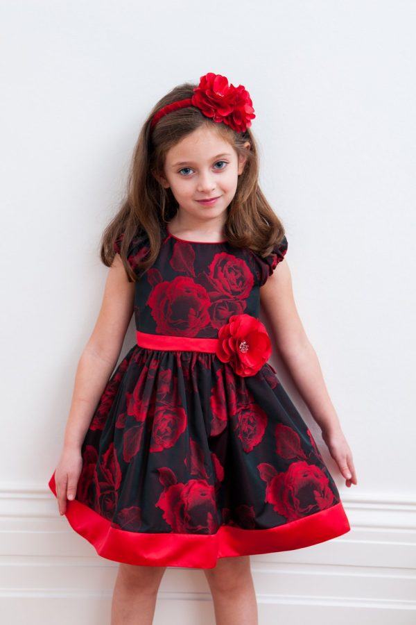 Black and Red Rose Party Gown