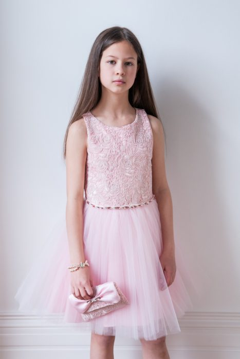 Pink Lace Textured Party Dress