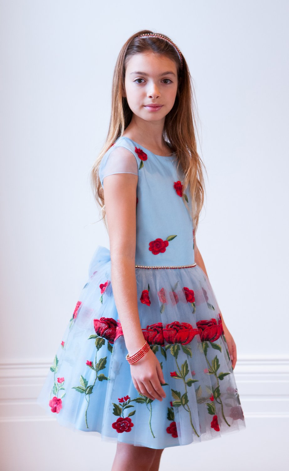 Pastel Blue and Red Rose Dress