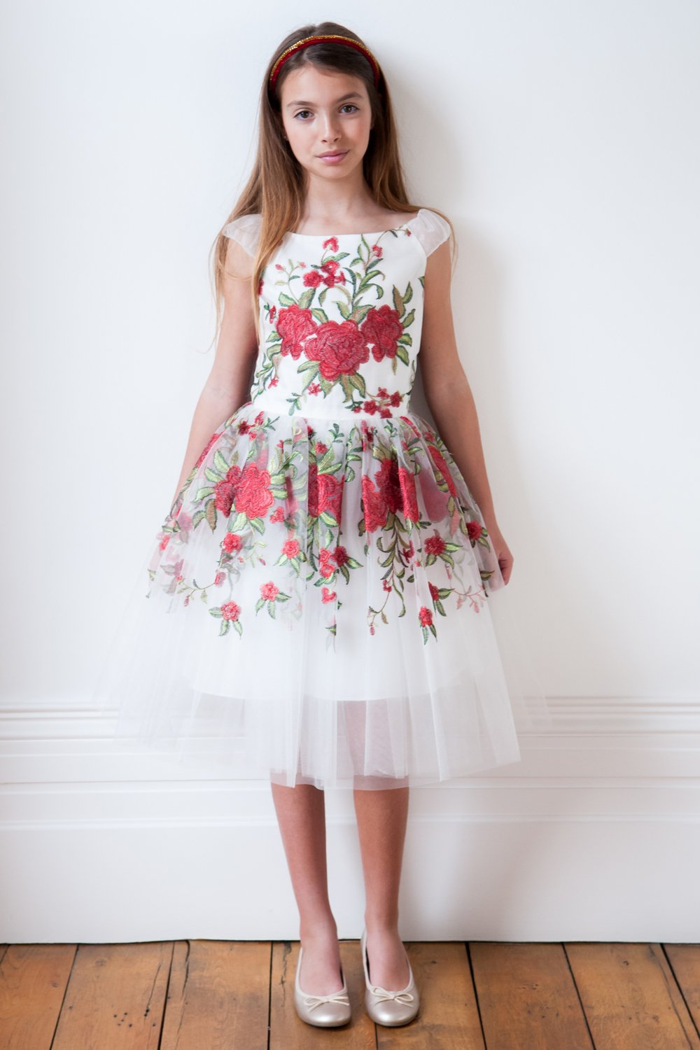 Ivory and Red Drama Dress