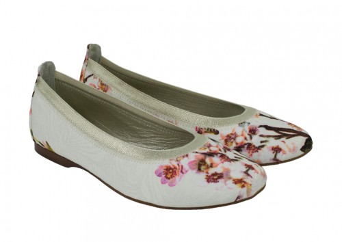 Ivory and Pink Floral Flats