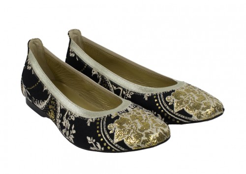Black and Gold Brocade Party Shoes