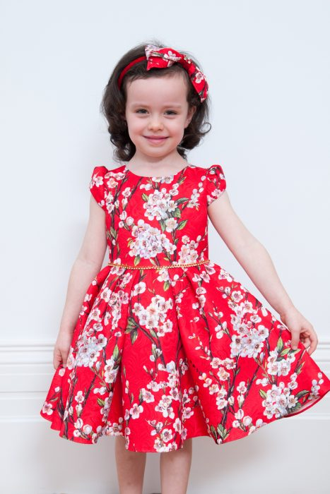 Red Winter Bloom Party Dress