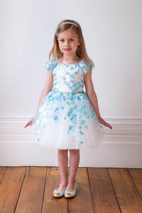 Turquoise Petal Ball Gown