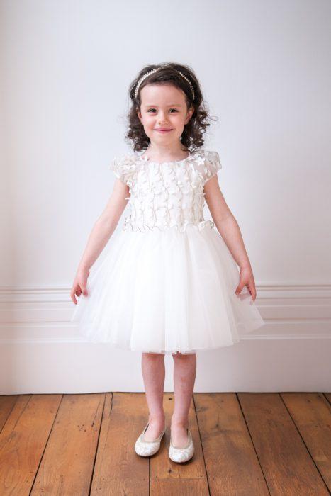 Ivory Flower Applique Ballerina Gown