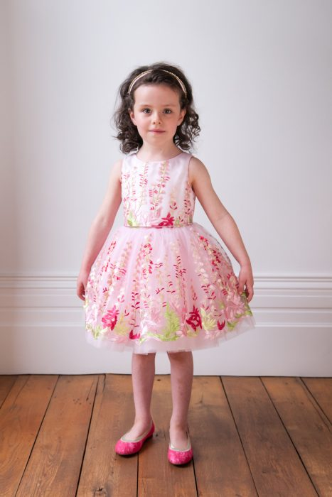 Pink and Green Flower Girl Gown