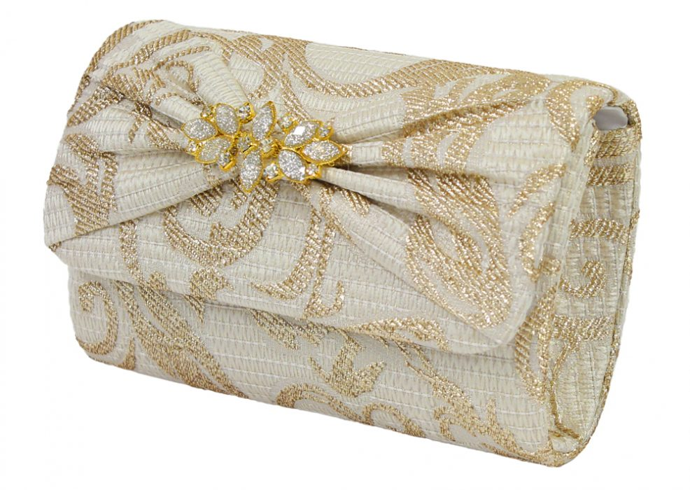 Ivory and Gold Brocade Clutch