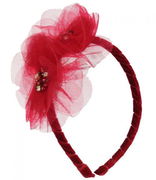 Festive Red Embellished Hair Band