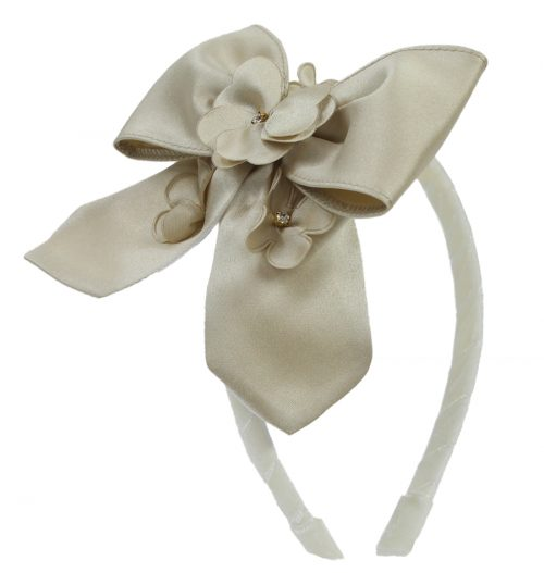Gold Floral Satin Alice Band