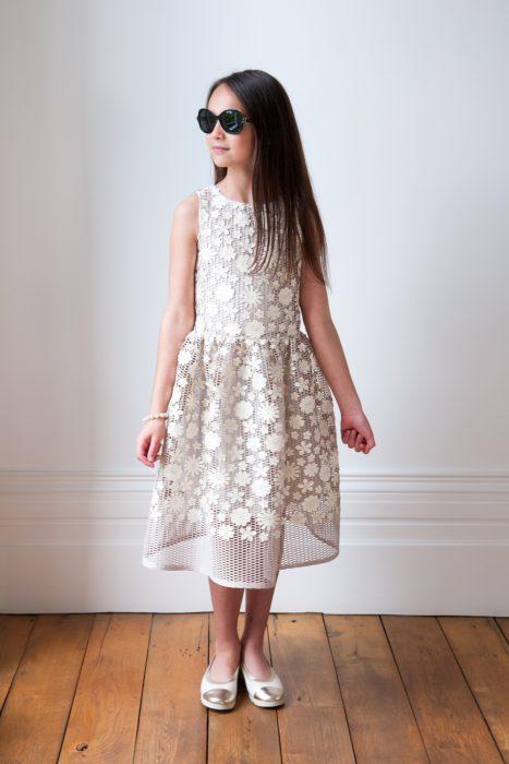 Ivory and Bronze Applique Dress