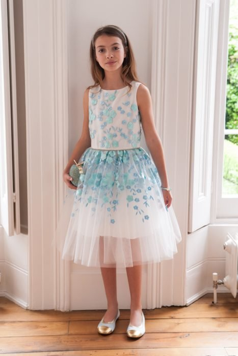 Ivory and Turquoise Petal Prom Dress