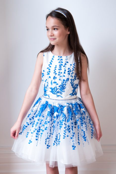 Ivory and Blue Party Gown