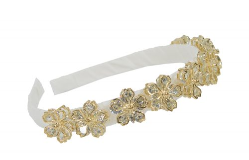 Ivory and Gold Floral Alice Band