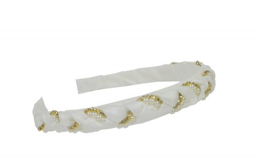 Ivory and Gold Plait Hair Band