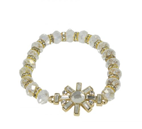 Ivory and Gold Beaded Crystal Bracelet