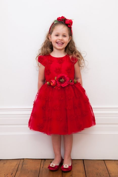 Scarlet Red Corsage Ball Gown