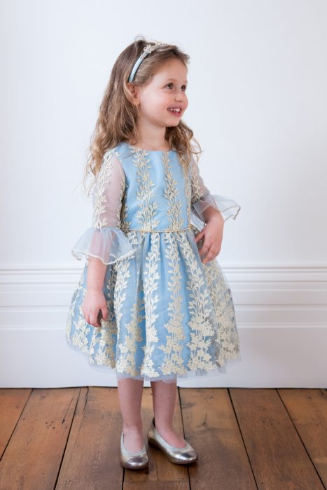Sky Blue Embroidered Birthday Dress