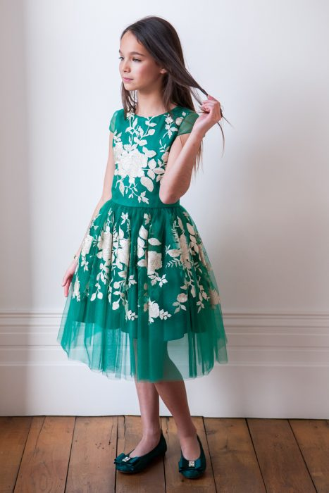 Jade Green Floral Dinner Dress