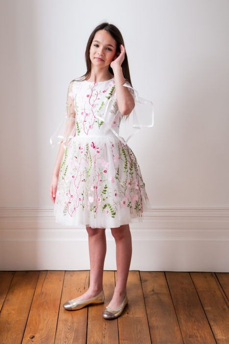 Ivory and Pink Floral Bloom Gown
