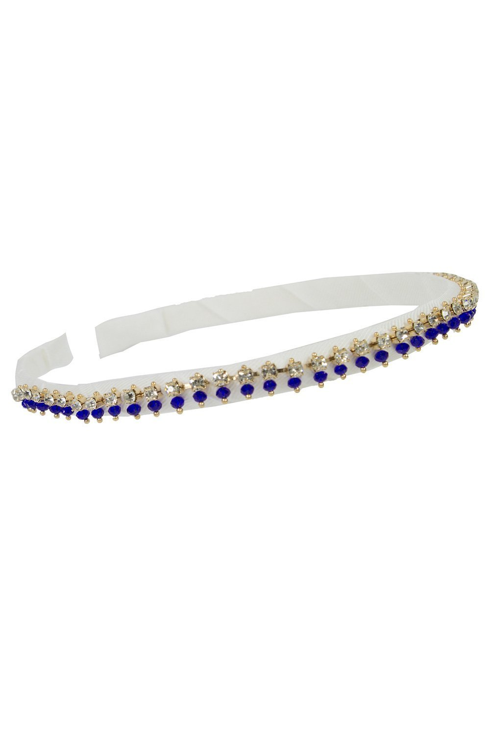 Ivory and Navy Jewelled Alice Band