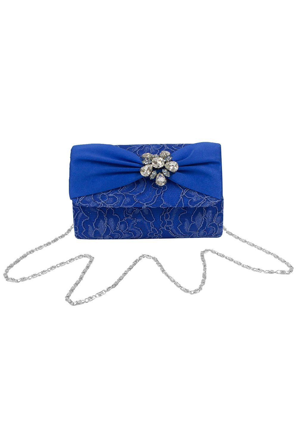 Navy Jewel Clustered Clutch