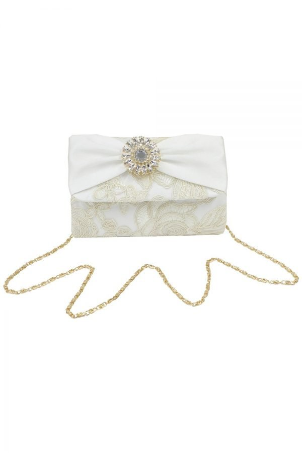 Bejewelled Ivory Clustered Clutch