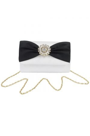 Ivory and Black Mono Clutch Bag