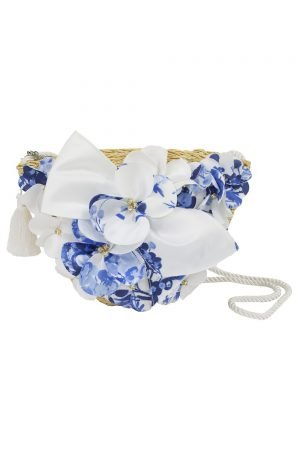 Blue Ivory Flower Basket Bag