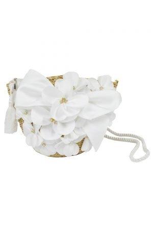 Ivory Bouquet Basket Bag