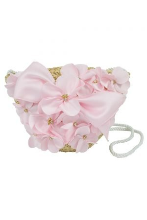 Pink Floral Basket Bag