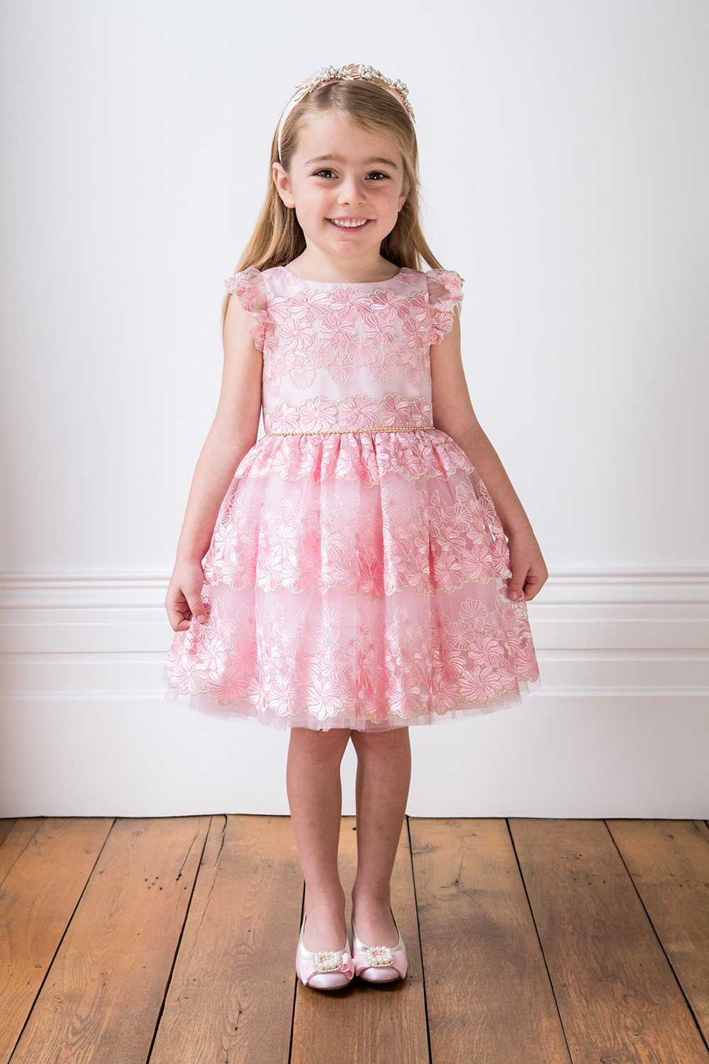 Vestido de niña de las flores rosadas de Blush - David Childrens Wear