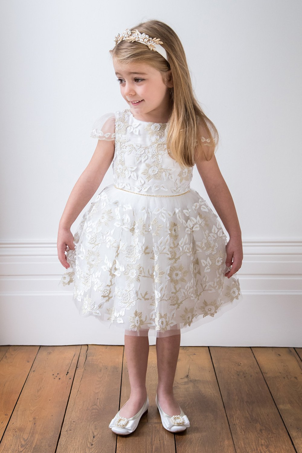 e8d98817cf209 Ivory and Gold Sunflower Dress - David Charles Childrens Wear