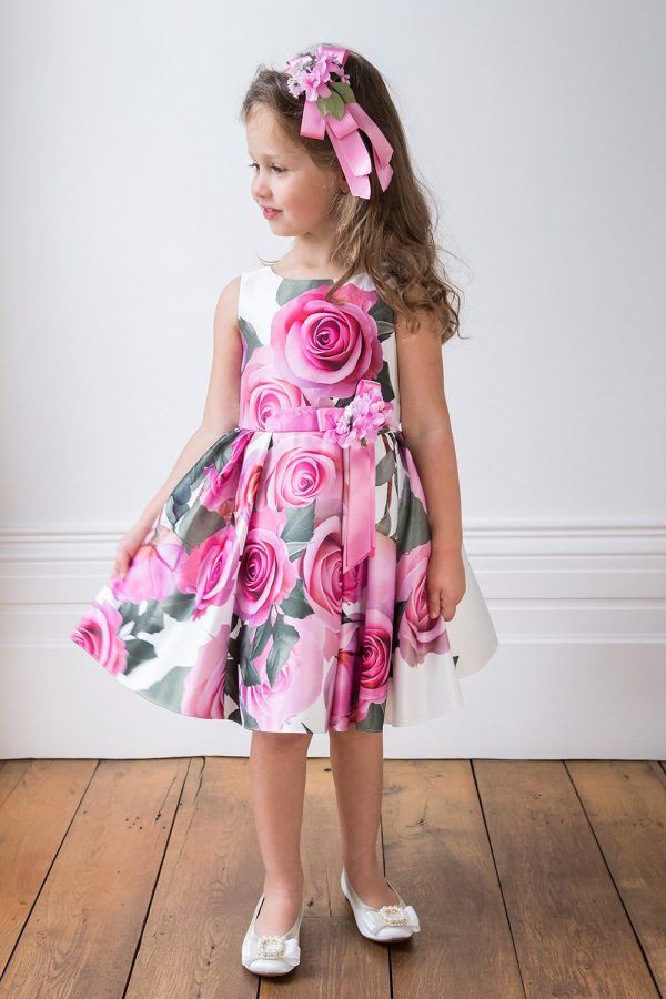 Ivory and Pink Rose Birthday Gown