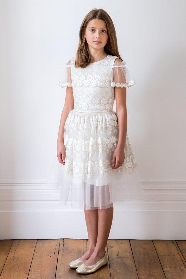 Ivory Cold Shoulder Bridesmaid Dress