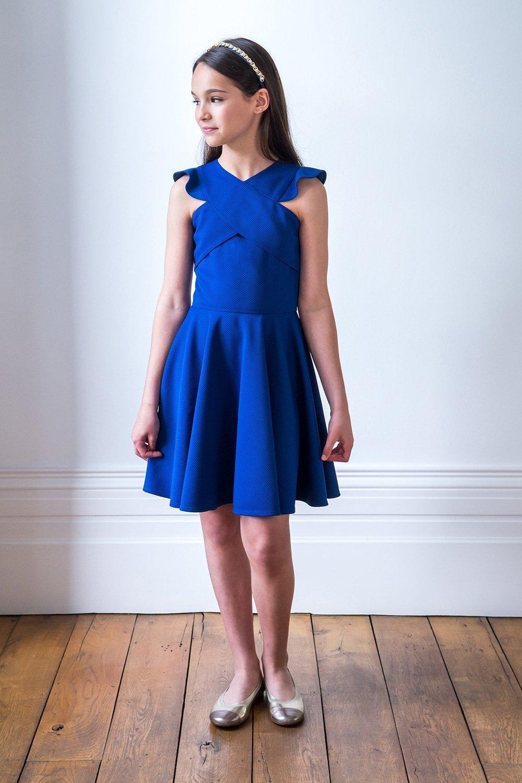 Royal Blue Frill Skater Dress - David Charles Childrens Wear 3ca67164f