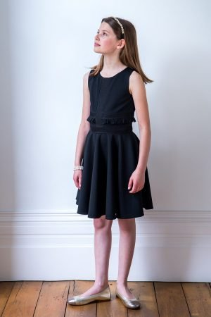 Black Formal Ruffle Trim Dress