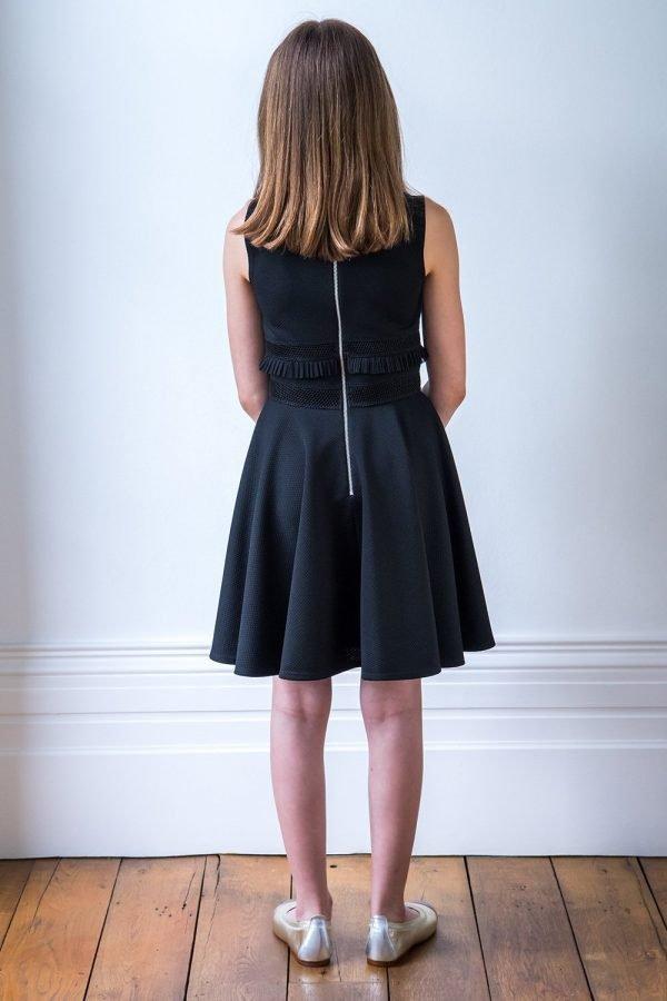 Black Formal Ruffle Trim Dress