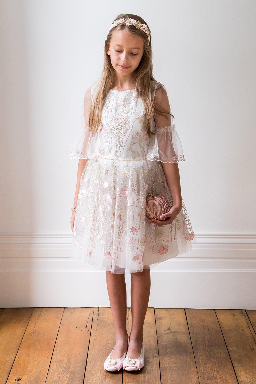 Elfenbein-rosa und Gold botanisches Kleid - David Charles Childrens Wear