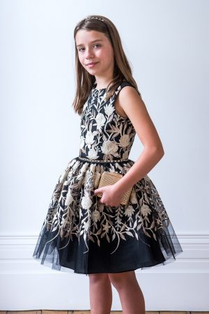Black Gold Bloom Party Dress