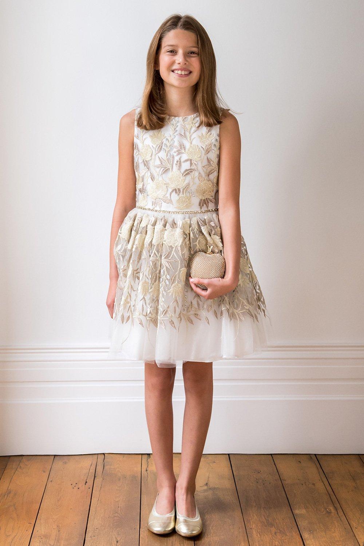 Elfenbein Gold Blüte Brautjungfer Kleid - David Charles Childrens Wear