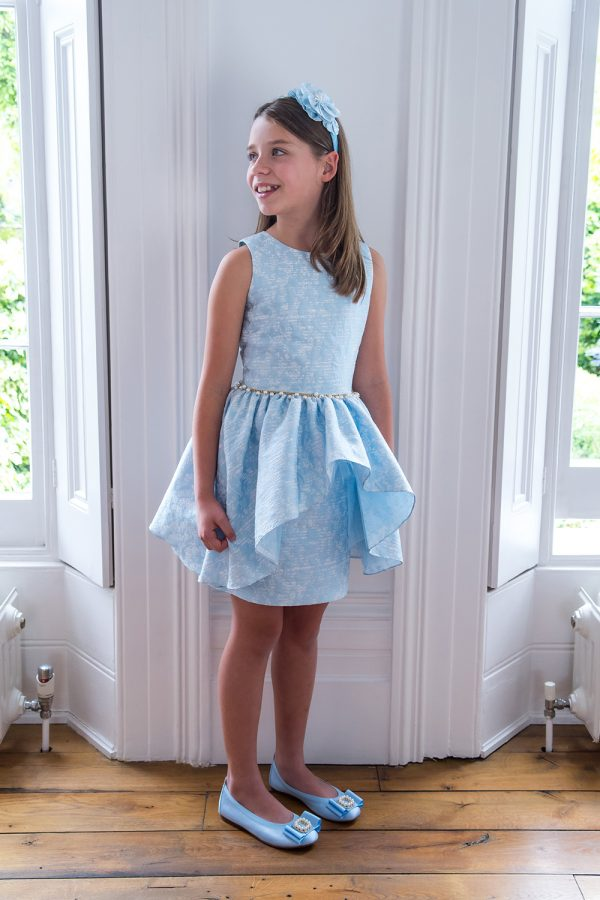 Orchid Blue Jacquard Waterfall Dress