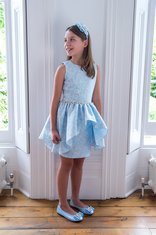 a41858b6c676 Orchid Blue Jacquard Waterfall Dress - David Charles Childrens Wear