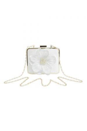 Ivory Flower Box Clutch Bag