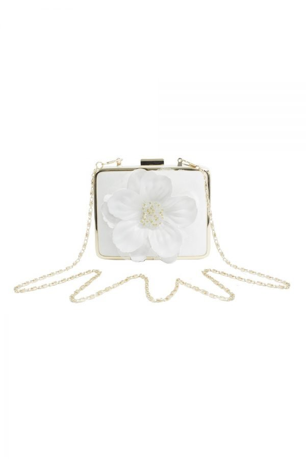Ivory Flower Box Clutch Bag