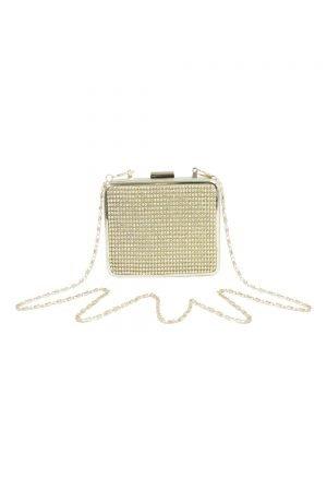 Gold Sparkle Box Clutch Bag